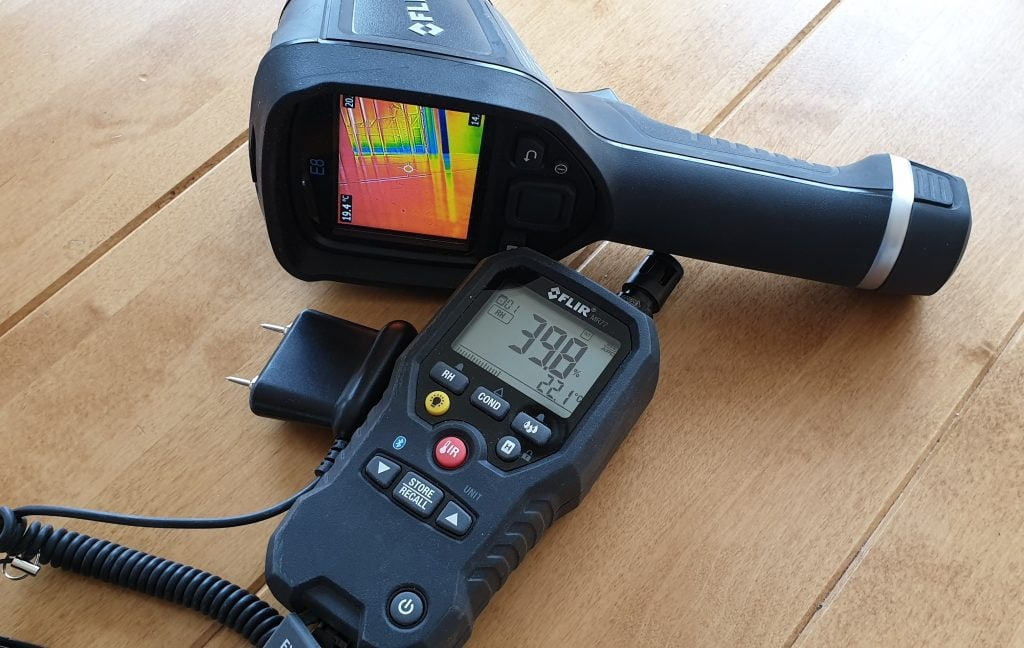 Flir infrared camera will show the temperature pattern on a surface and dew points were condensation will occur.